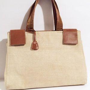Prada unisex linen leather briefcase tote handbag